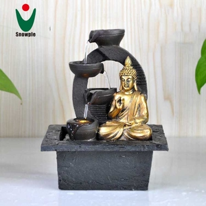 small battery operated resin indoor thailand buddha water fountain