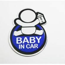 Автомобильные 3D Алюминиевые наклейки модные милые детские в автомобиле предупреждающие наклейки Светоотражающие Водонепроницаемые винил...(Китай)
