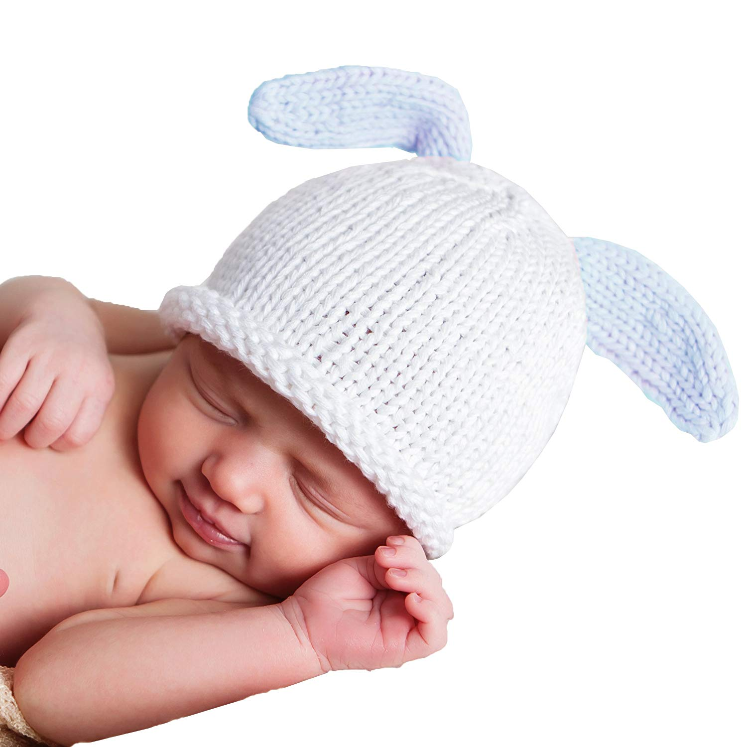 763c39ed6b2 Get Quotations · Huggalugs Baby Bunny Newborn Boy or Girl Hospital Hat in 2  Color Choices