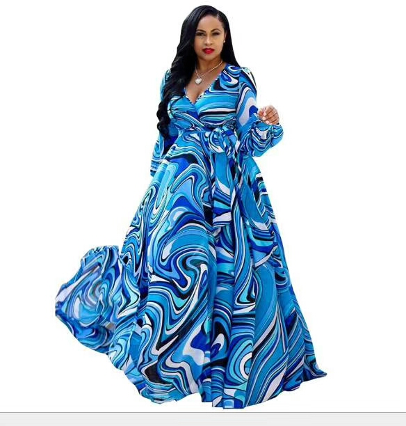 Women\'s Cute Plus Size Contrast Binding Belted Wrap V Neck Maxi Dress - Buy  Plus Size Maxi Dress,Maxi Dress,Dress Plus Size Product on Alibaba.com