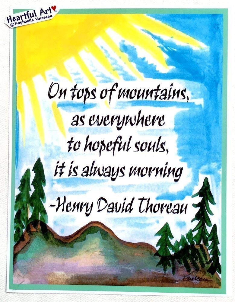 On tops of mountains 8x11 Henry David Thoreau poster - Heartful Art by Raphaella Vaisseau