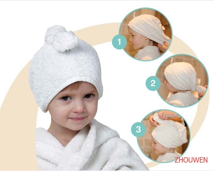 Promotion Plain Dyed Children hair towel bamboo shower cap