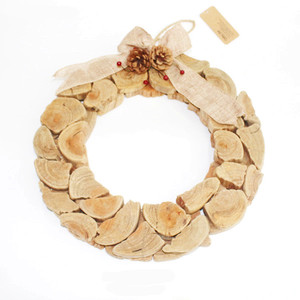 primitive wood slices nailed christmas garland