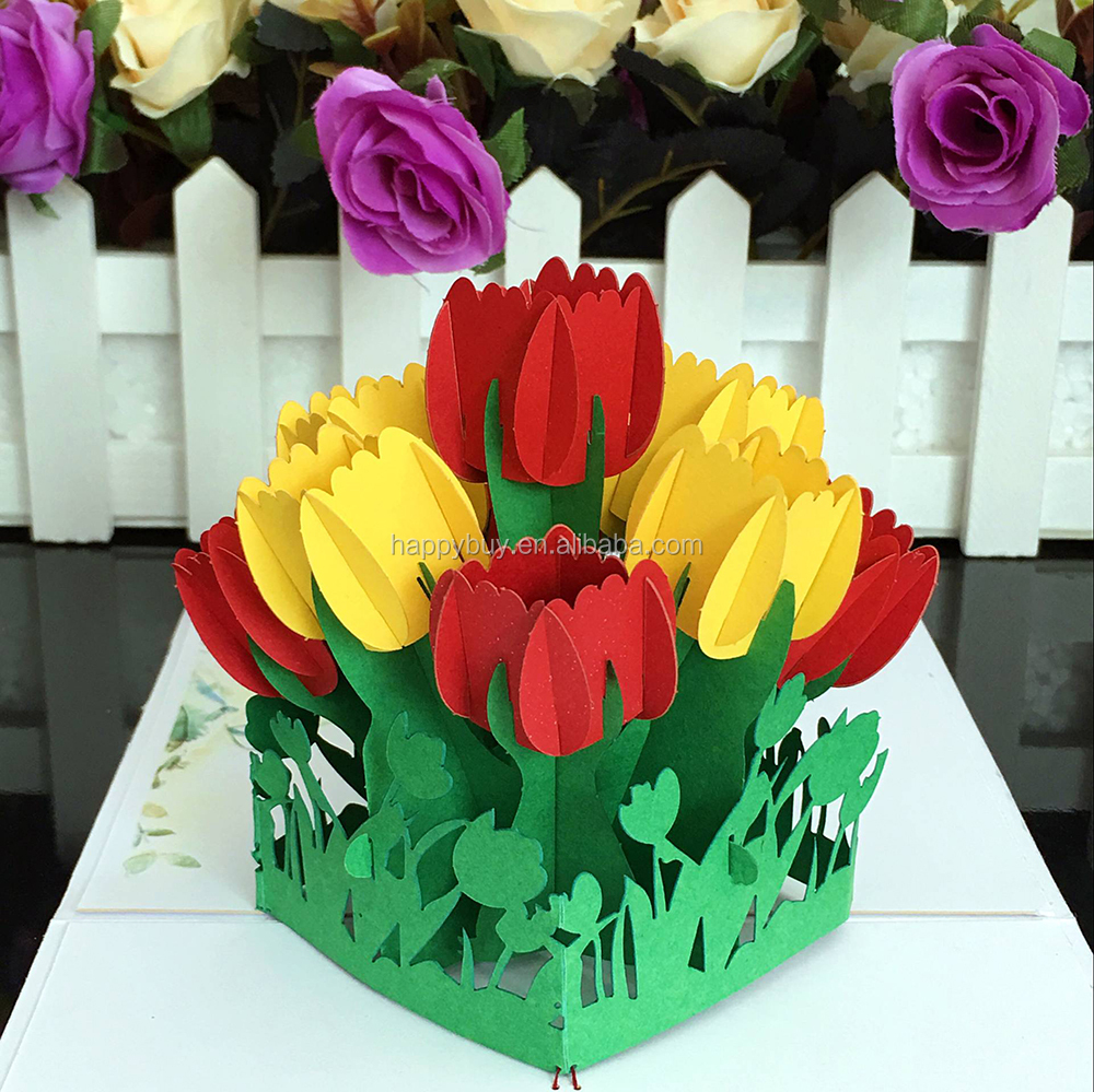 Beautiful tulips 3d flowers pop up birthday greeting card buy beautiful tulips 3d flowers pop up birthday greeting card m4hsunfo