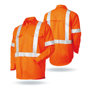 Hi Vis Reflective Safety Cotton Drill L/S Workwear Work Shirt