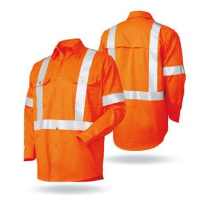 Hi Vis Reflective Safety Cotton Drill L/S Workwear Work Shirt