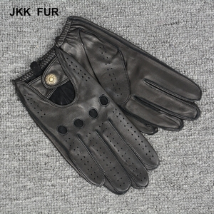 JKK FUR Stylish motorcycle driving Winter Warm 100% Deers skin Mens Leather Gloves