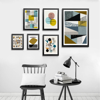 Abstract Geometric Canvas Painting Scandinavian Vintage Poster Print Wall Art Pictures Home Decor
