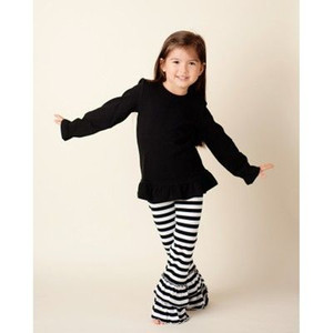 Black top stripe ruffle pants children clothing long sleeve little girl clothes cute boutique ruffle kids clothing for winter