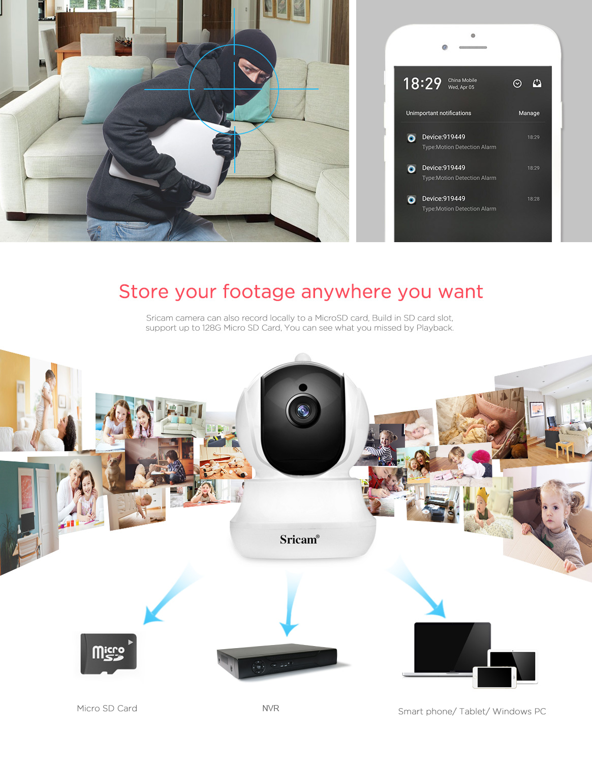 Chinese surveillance cctv Sricam hd mini baby monitor ptz wifi ip camera onvif nvr