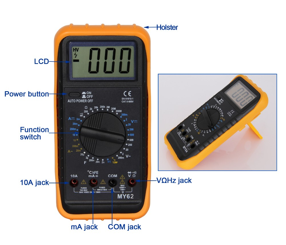 CE digital multimeter with buzzer and temperature MY62