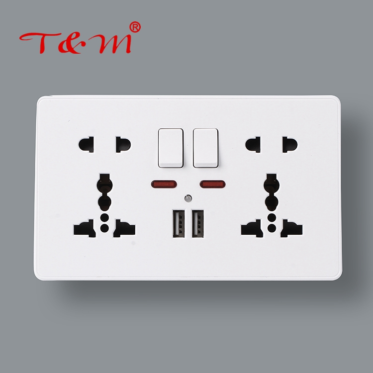 2018 best price 2* 5 pin wall switched socket with neon and 2 USB outlet