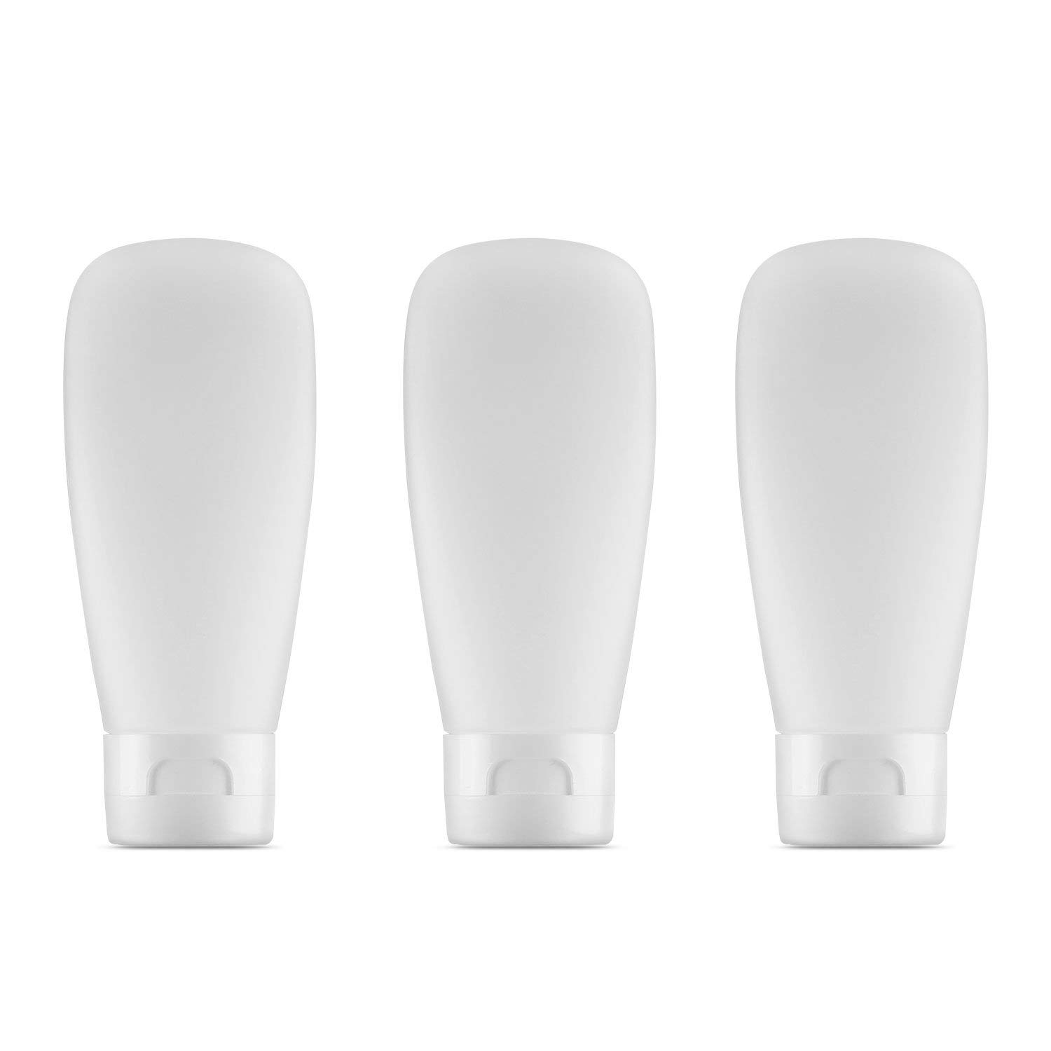 LONGWAY 2 Oz (60ML) Squeezable Soft Travel Tubes with Flip Cap | Refillable Plastic Squeeze Tube Bottles - for Lotion Tube Containers & BPA Free (Pack of 3, Frosted Translucent)
