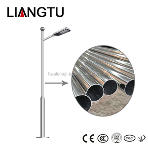 Custom Height 2-12m Silver Finished Stainless Steel Street Light Pole