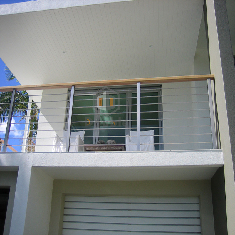 Outdoor Wood Handrail Stainless Steel Cable Balcony Balustrade