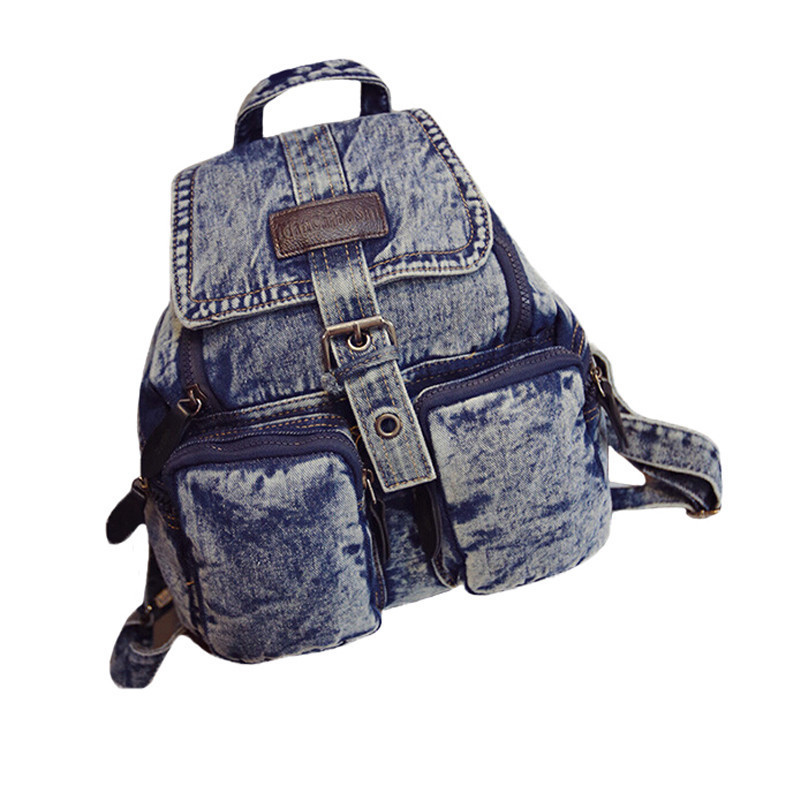 0749bc3adb3e Get Quotations · Fashion Women School Backpacks Canvas Mochilas Denim  Shoulder Bags Teenage Vintage School Campus Bags Travel Backpack