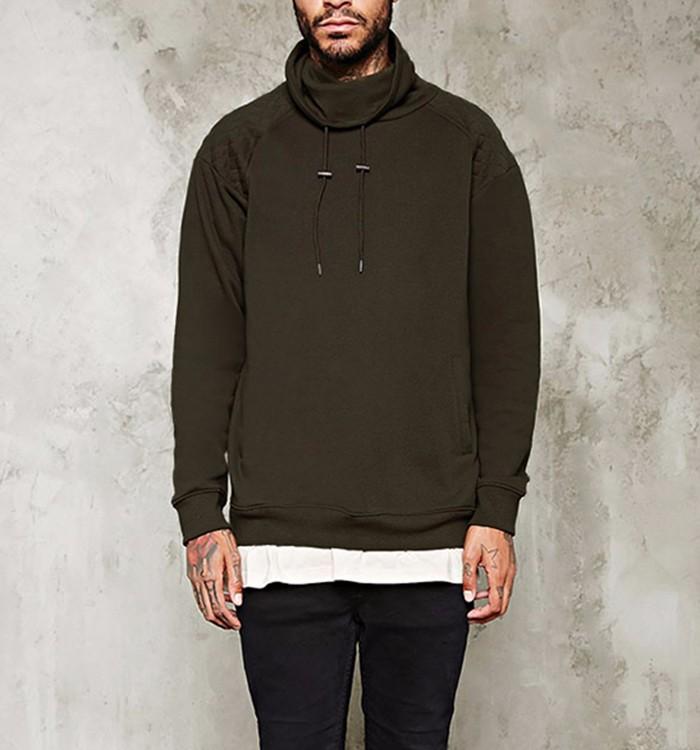 Custom Black Mens High Chimney Collar Pullover Sweatshirt