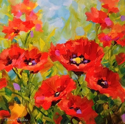 Canvas Oil Painting Poppy Red Flowers for A kitchen Wall Decor