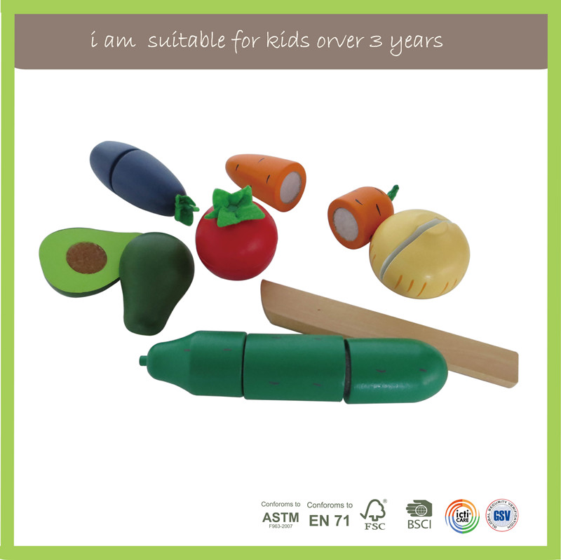 Wooden Kitchen Toys Cutting Fruit Vegetable Play Miniature Food Kids Wooden Toy