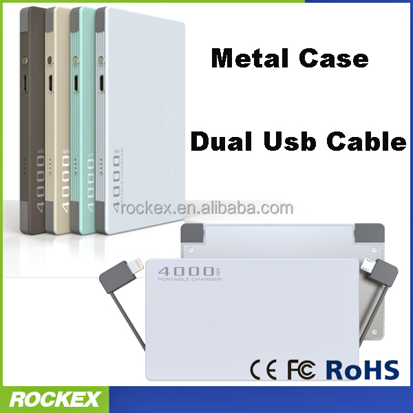 4000mAh ultra thin card power bank, Dual usb cable power bank, Portable power bank