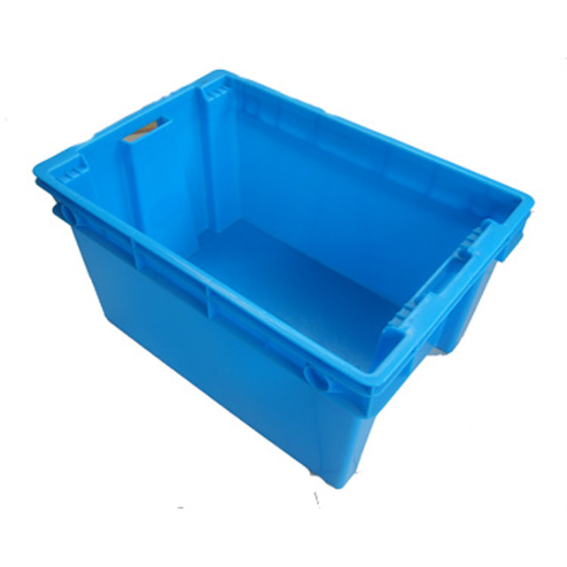 plastic crate stack and nest for transport and warehouse cold storage fruit and vegetable