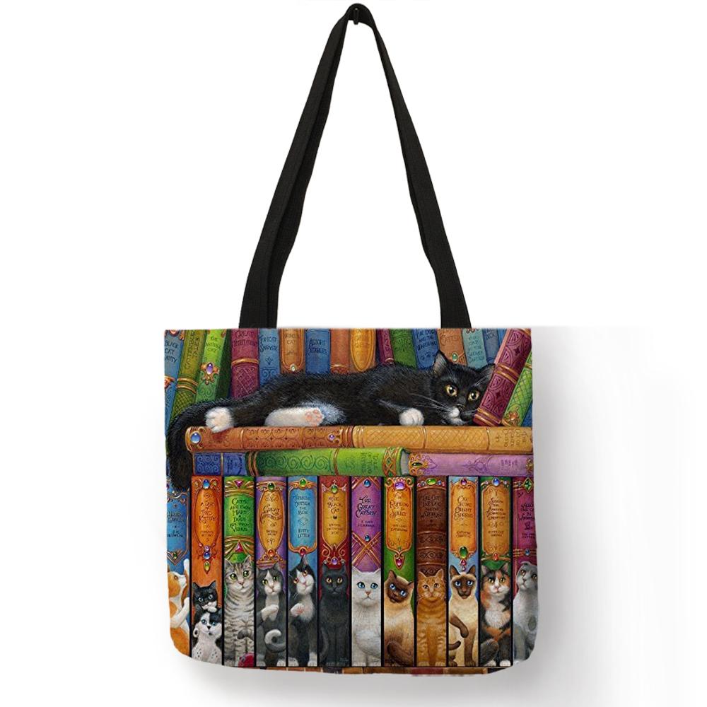 Женские сумки-тоут из льна с принтом кота, многоразовые сумки для покупок, сумки на плечо, 2020(Китай)