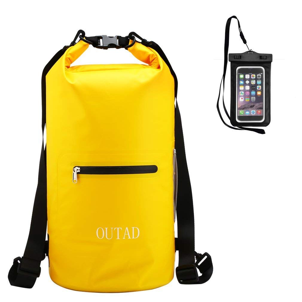 Waterproof Dry Bag Sack, OUTAD Roll Top Floating Dry Gear Bag with Adjustable Shoulder Straps & Cellphone Case for Kayaking, Swimming, Boating, Hiking, Camping (Yellow, 10L with Cellphone case)