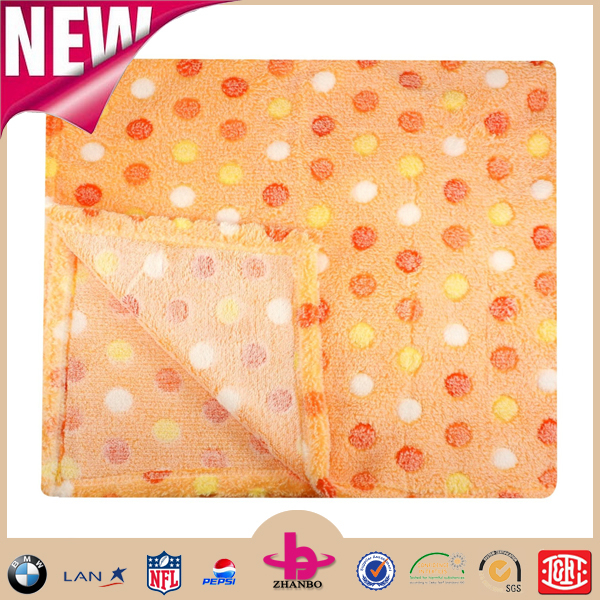 Very cheap morden design Dot printed cozy warm heated super soft minky coral fleece baby throw blankets as a gifts