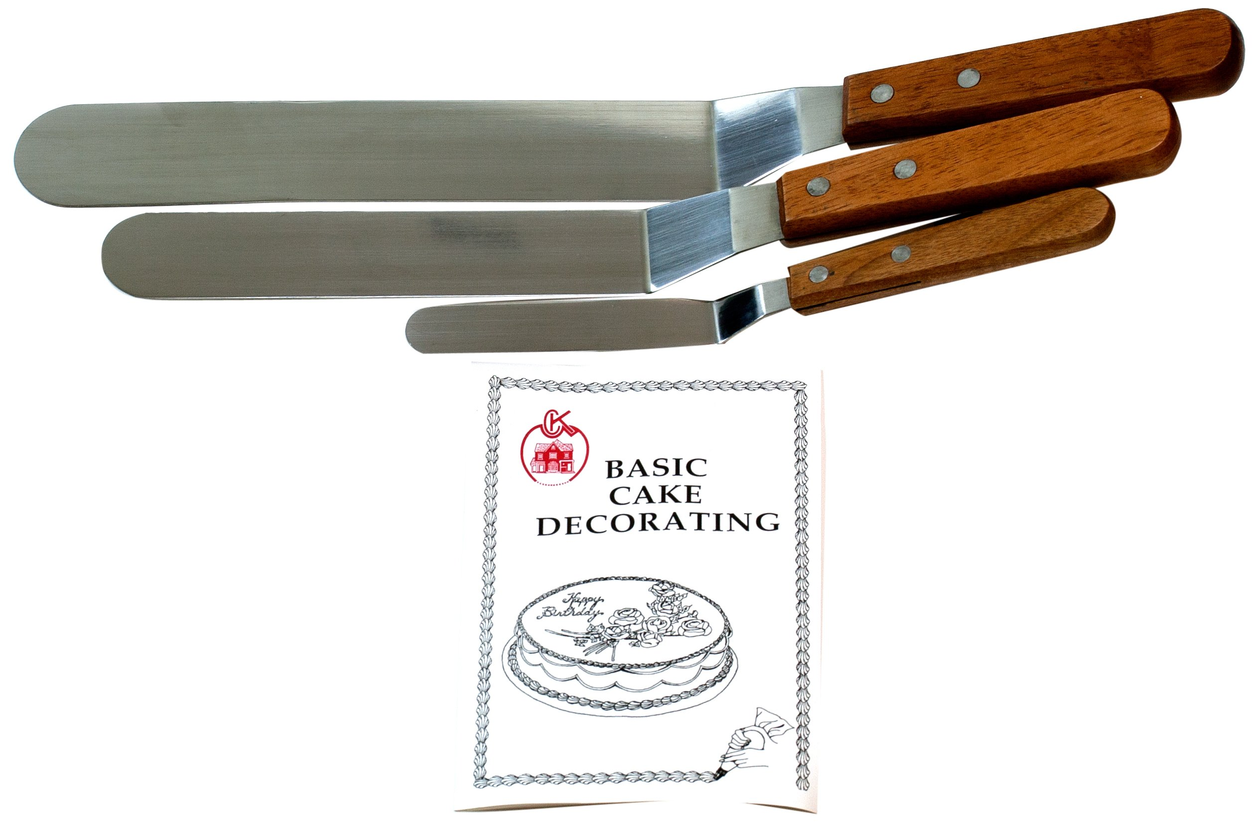 Cybrtrayd Offset Wood-Handled Cake Decorating Spatulas Plus Cake Decorating Instruction Booklet (4.25-Inch, 7.75-Inch and 9.25-Inch), Set of 3
