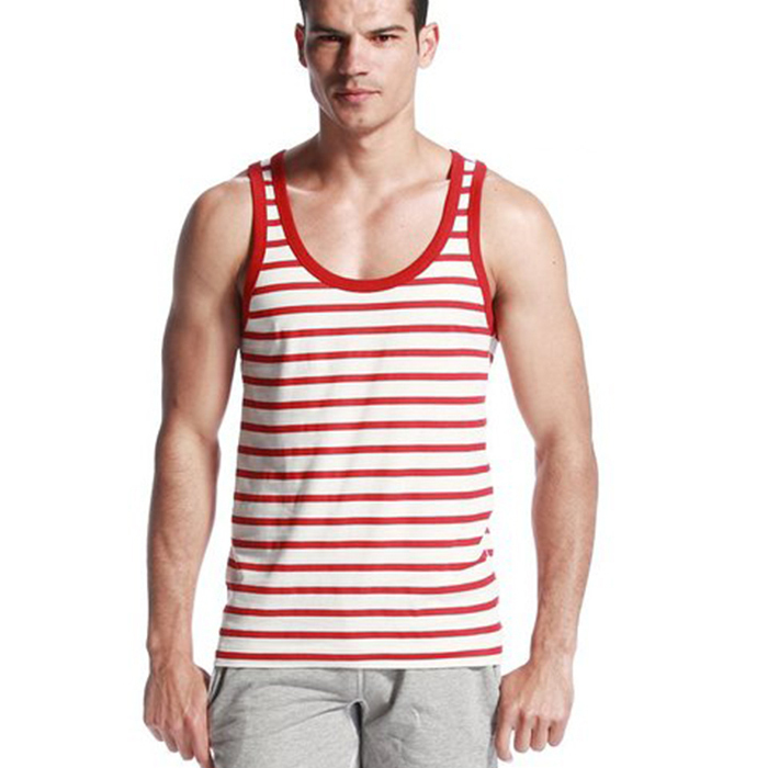 ab754f4f963360 Get Quotations · New Sexy Muscle Men s Stripe Fitness T shirts Undershirts Tank  Top Cotton O Neck Collar Large