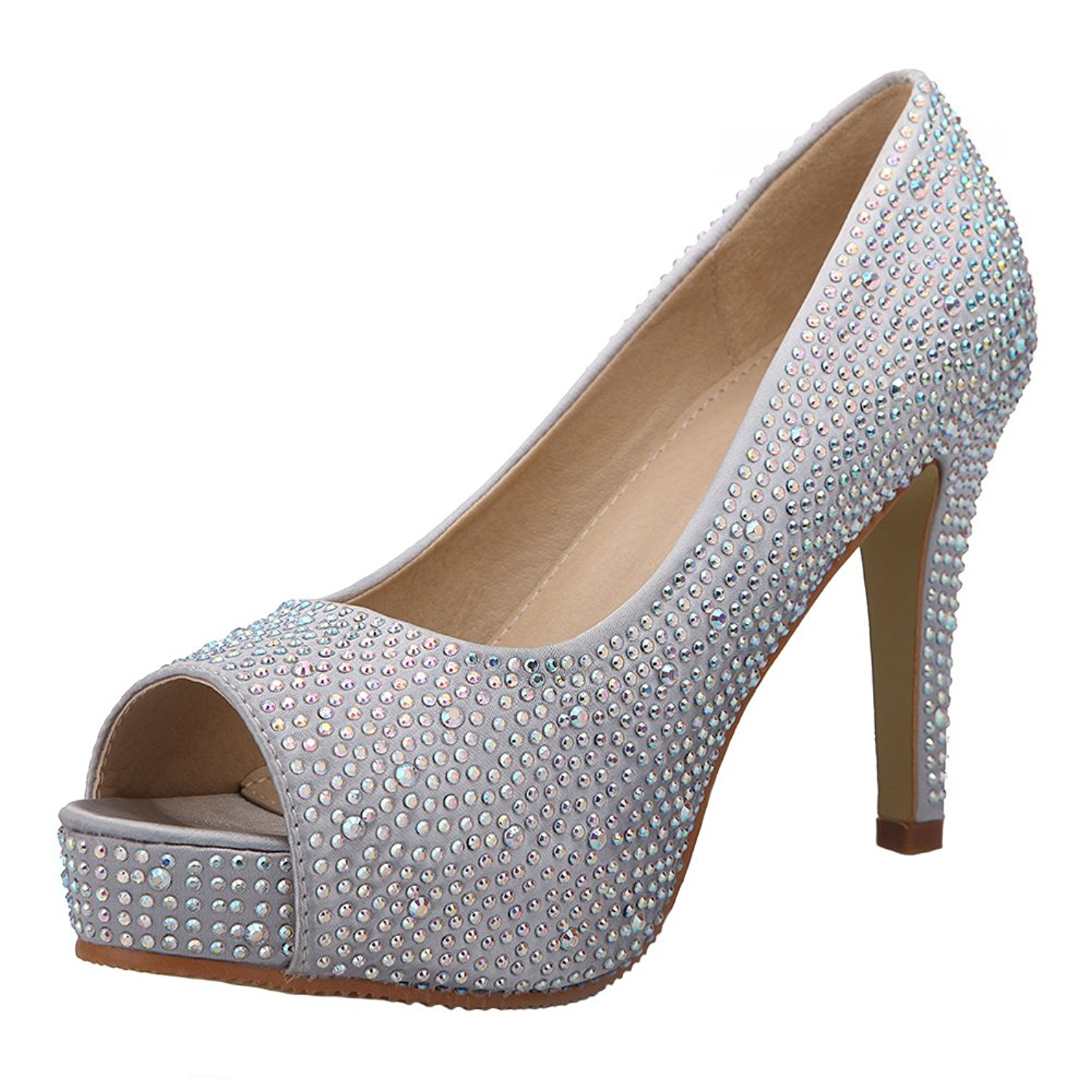 VELCANS Fashion Rhinestone Womens Platform High Heels Pumps,Bridal Shoes,Party and Wedding Sandals Shoes