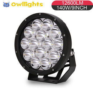 9 inch 140w LED Spot Work Light - 12600lm - Long Brightness Distance - for Jeeps Trucks Offroad Tractor Military Style