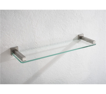 Modern Bathroom Decorative Single Layer Wall Stainless Steel Glass Shelf  Support