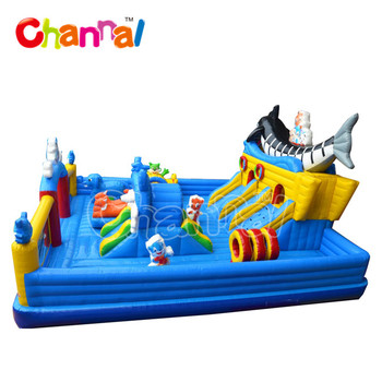 Popular inflatable fun city inflatable playground with inflatable slide for children and adult