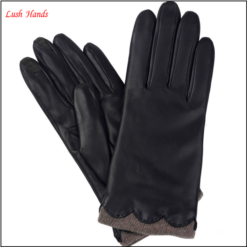 Ladies cute black finger touch screen leather gloves, winter gloves