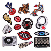 Mouth Music Instrument Hand Fabric Patch Embroidered Iron on Patches For Clothing DIY Decoration Clothes Stickers Applique Badge