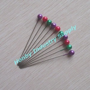 Fashional 55mm plastic round colored pearl head straight pin for sewing