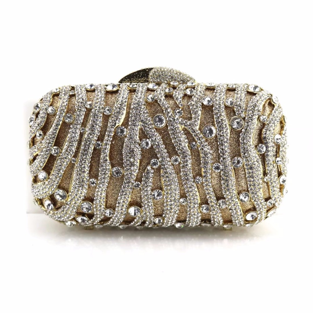Initiative Embroidery Women Handbags Beaded Chain Accessory Metal Day Clutches Party Wedding Evening Bags One Side Diamonds Purse Women's Bags Top-handle Bags