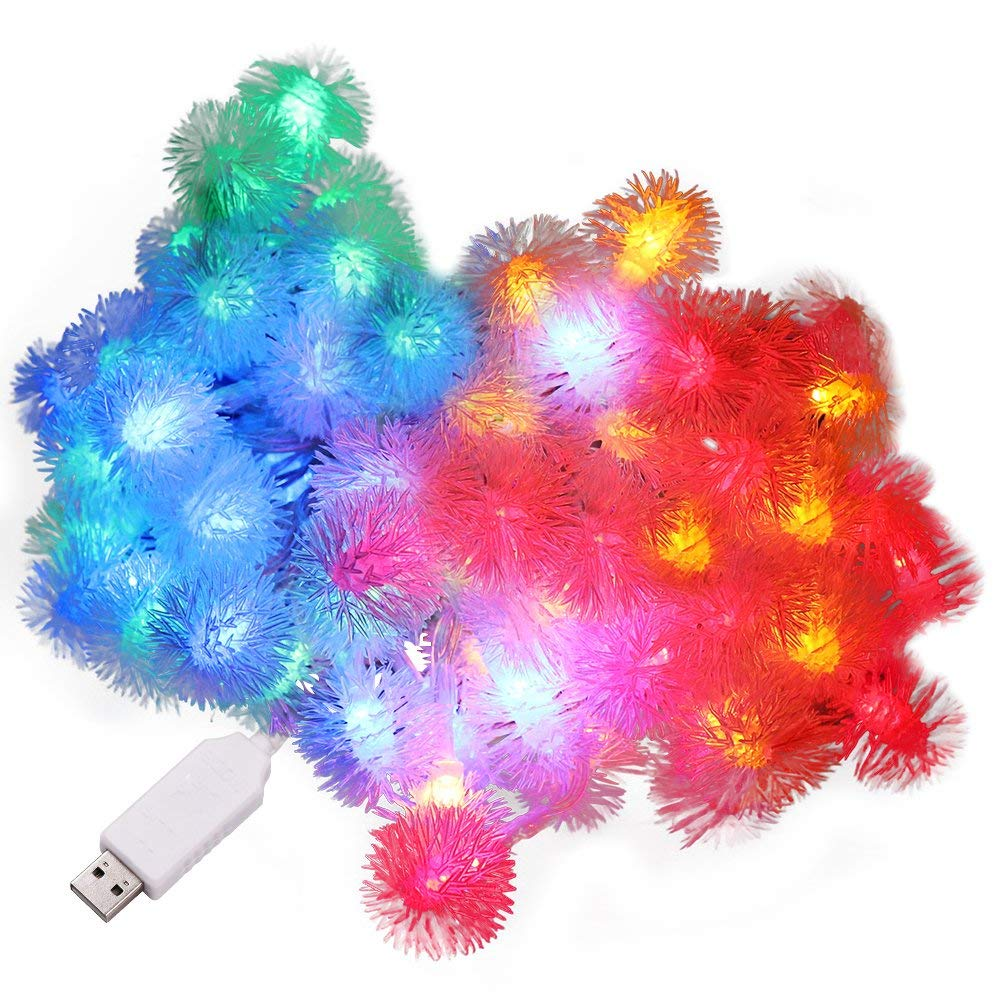 XUNATA 6.6ft/2m LED String Lights, USB Powered Indoor Outdoor Waterproof Fairy Dandelion String Light Party Lighting for Patio Christmas Wedding Bedroom Decoration(RGB)