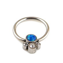 Titanium Captive Bead Ring met <span class=keywords><strong>Bezel</strong></span> Set Jeweled Bubble Disc Cluster