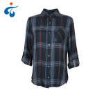 Good price premium fashion long sleeve check women blouse design new