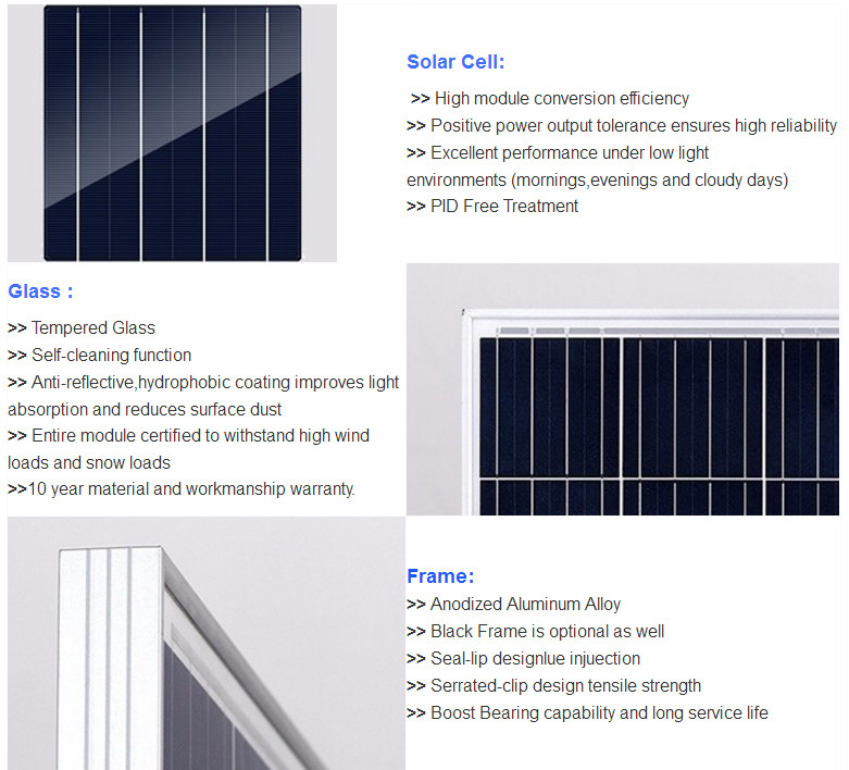 High efficiency PID free Mono 310W Solar Panel 25 years warranty