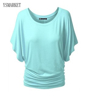 YAMARKET Solid Color T-shirt Top Loose Sexy Women Clothes Round Neck Europe and the United States Batwing Short Sleeve Top E975