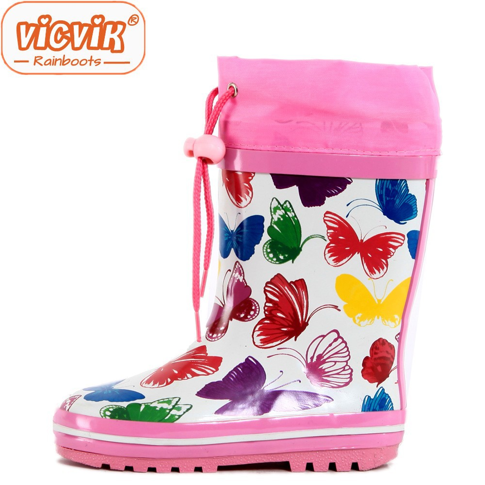 Girls butterfly printing wellies with collar waterproof rubber rain boots