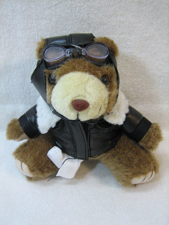 "Aviator Teddy Bear with White Scarf 6"" Plush"