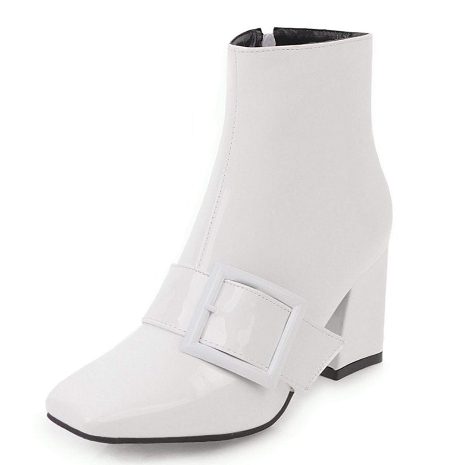 25198ea6ca5 Get Quotations · Rongzhi Womens Ankle Boots Buckle Zip Thick Block Heels  Square Toe Booties Shiny Patent Leather