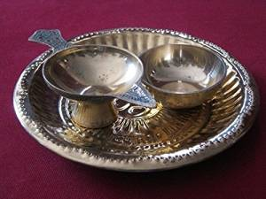 Artcollectibles India Set Of Brass Religious Items Plate Diya Lamp Bowl Hindu Puja Aarti Tika Havan