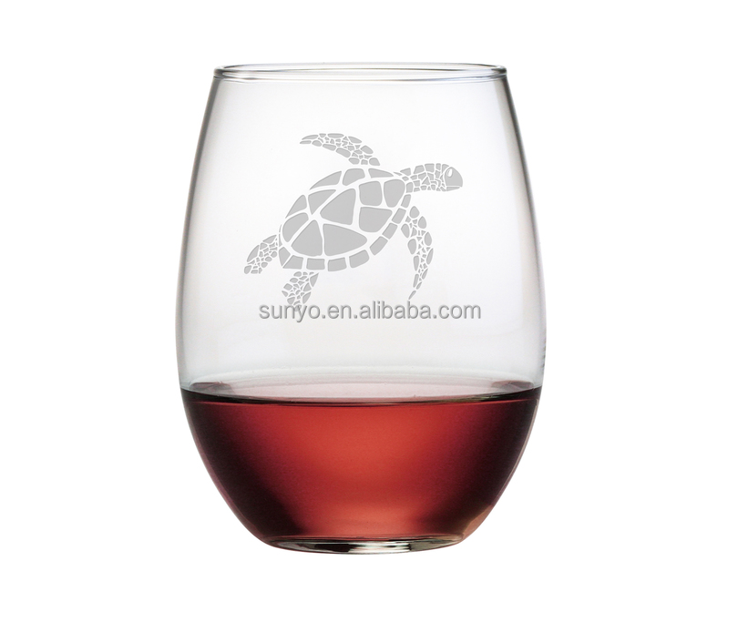 Sodalime leadfree customized frosted Sea Turtle decal 21-ounce Stemless Wine Glasses