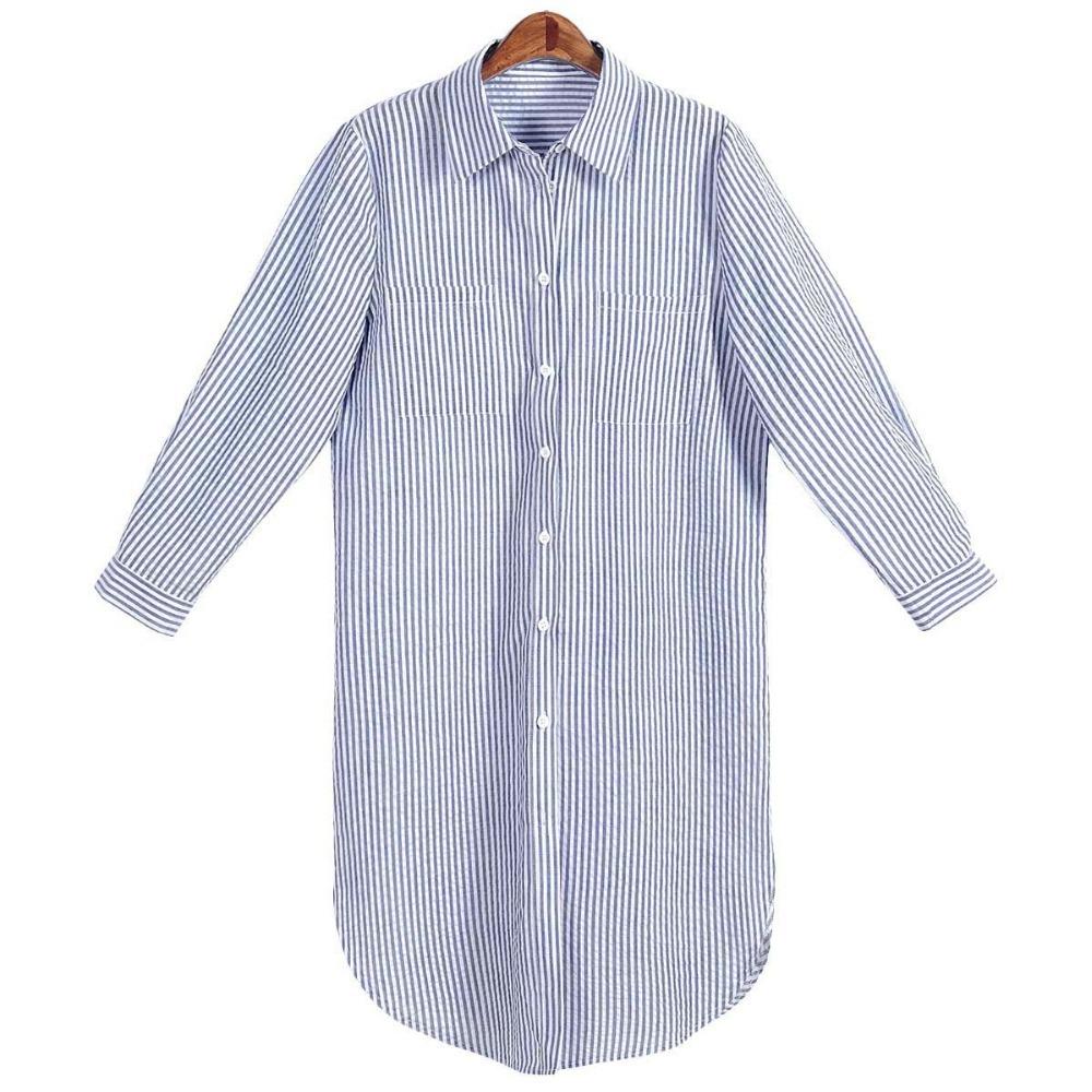8dec6dc515f Get Quotations · 2015 Women Long Sleeve Autumn Shirt Dress Blue White  Striped Turn-down Collar Cotton Midi