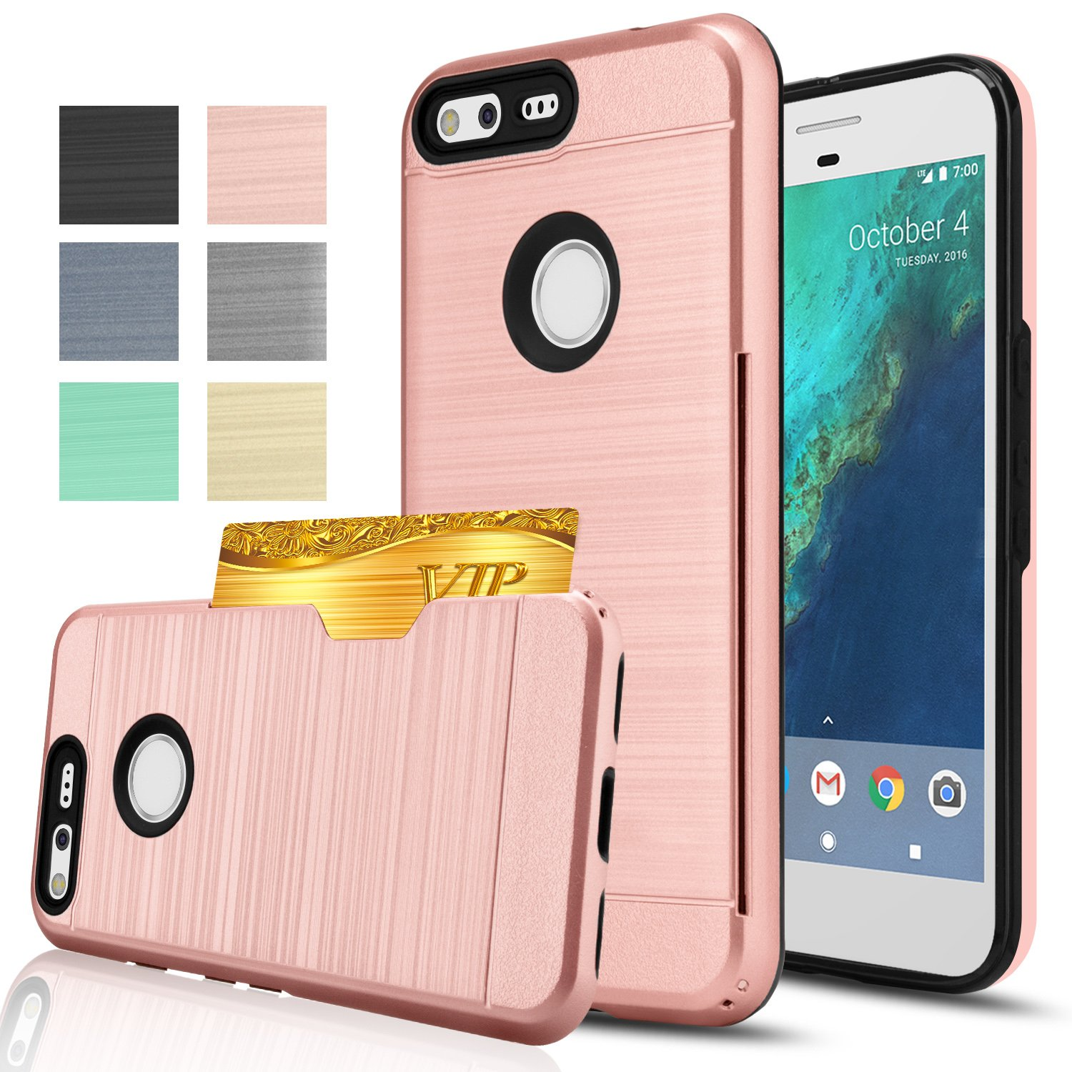 Google Pixel XL Phone Case,Anoke [Credit Card Slots Holder][Not Wallet]Hard Plastic PC TPU Soft Hybrid Shockproof Heavy Duty Protective Cover Case For Google Pixel Xl 2016 KC2 Rose Gold